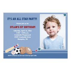 Shop All Stars Sports *PHOTO* Birthday Invitation created by allpetscherished.