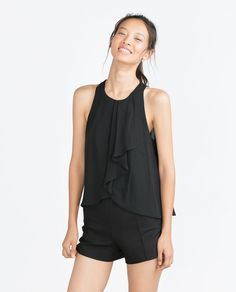 TOP WITH FRILL-Tops-Tops-WOMAN | ZARA Philippines