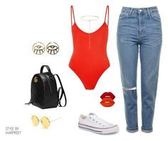 Casual Slay by stylebyharpreet on Polyvore featuring Bower, Topshop, Converse, Gucci, Shay and Lime Crime
