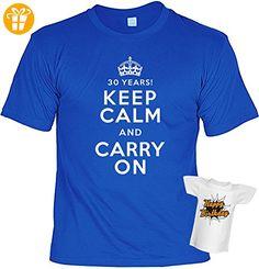 Lustiges T-Shirt zum 30. Geburtstag 30 Jahre Keep Calm and Carry on mit Mini-Shirt Set 30 Geburtstag 30 Jahre Geschenk für das Geburtstagskind (*Partner-Link)