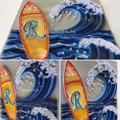 Angled shots...Paper quilled Surfboard with initial R and the big surf wave in the background. Quilling for ocean theme boy's room, custom order. Colors picked from the wall & room decor. #quilling #paperart #Paperquilling #etsy #handmade #collectart #emergingartist #typography #buyhandmade #instaart #paperedge #JasmeetKohli #papercraft #lovehandmade #paperartist #paperwork #wallart