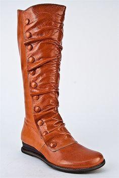 Bloom Knee High Low Wedge Boot - Orange