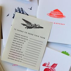 We love this little checklist included with our new Letterpress Greeting Card Set. 12 cards - one for every occasion to make sending handwritten notes easy.