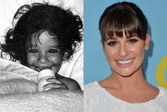 Lea Michele in a Childhood Photo from Her Senior Yearbook and Lea Michele Now