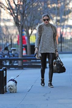 Olivia Palermo walks her dog with style - Fashion District