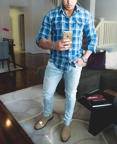 Hope you are enjoying your #sunday  - #plaidblurshirt  light jeans and #chelseaboot  [ http://ift.tt/1f8LY65 ]