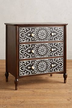 Tapestry Inlay Three-Drawer Dresser x x There's a matching headboard, too! Funky Furniture, Refurbished Furniture, Paint Furniture, Repurposed Furniture, Unique Furniture, Furniture Projects, Furniture Making, Furniture Makeover, Furniture Design
