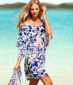 A150 national trend blue and white porcelain pattern loose batwing sleeve kimono pattern beach dress