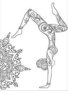 Yoga and meditation coloring book for adults: With Yoga Poses and Mandalas Livre de coloriage yoga e Yoga Kunst, Illustration Tattoo, Yoga Posen, Yoga Art, Meditation Art, Mandala Coloring, Coloring Book Pages, Tattoo Coloring Book, Doodle Art