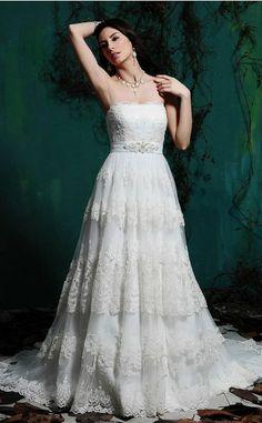Timeless Trumpet/Mermaid Strapless Sleeveless Satin,Lace Floor-length Church Wedding Dresses(UKSCW03-224)