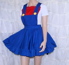 Mario Red Blue Nintendo Pinafore Apron Costume Skirt Adult ALL Sizes - MTCoffinz - Ready to Ship on Etsy, $90.00