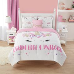Dream like a unicorn with this darling Eunice comforter set featuring a magical unicorn pattern. Girl Bedroom Designs, Room Ideas Bedroom, Girls Bedroom Decorating, Girls Comforter Sets, Kids Bedding Sets, Twin Comforter, Unicorn Bedroom Decor, How To Clean Pillows, Little Girl Rooms