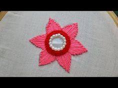 Embroidery Stitches Tutorial ring mirror work with long stitch:hand embroidery - Hand Embroidery Videos, Embroidery Stitches Tutorial, Hand Embroidery Flowers, Flower Embroidery Designs, Indian Embroidery, Learn Embroidery, Custom Embroidery, Embroidery Techniques, Ribbon Embroidery