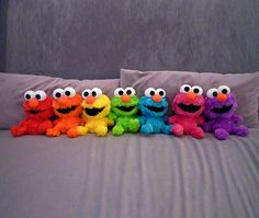 I know a little boy that would love all these Elmos! Although he's really attached to his Grover...