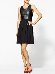 Line & Dot Leather Pintuck Dress | Piperlime