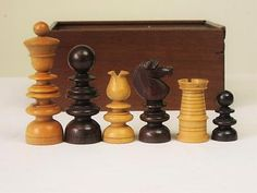 ANTIQUE CHESS SET  ENGLISH ST.GEORGE JAQUES PATTERN  K 90 mm + BOX NO BOARD