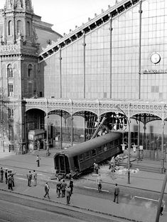 Budapest, Hungary. A shunting accident on 4th October 1962, saw  a 10 carriage-section of a train crash through its buffers, across the platform of the Nyugati (Western) Railway station, though the glass facade designed by Gutav Eiffel, and right out onto Lenin Boulevard (nowadays Teréz Körút) through the quick action of the rail staff, and the use of the loudspeaker, passengers were warned away, and there were no fatalities.