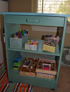 Repurpose on pinterest old entertainment centers play for Michaels craft storage cart