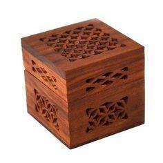 Handmade Small Lattice Cutwork Wood Box Handmade and Fair Trade