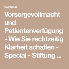 Vorsorgevollmacht und Patientenverfügung - Wie Sie rechtzeitig Klarheit schaffen - Special - Stiftung Warentest