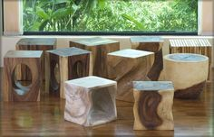 end tables hand carved natural wood Natural Wood Furniture, Unique Furniture, Rustic Furniture, Log End Tables, Wooden Tables, Trunk Furniture, Recycled Furniture, Thai Decor, Into The Woods