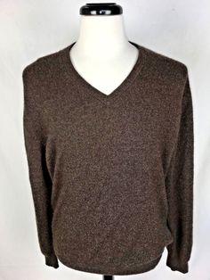 JOS A BANK Sweater Mens L Brown CASHMERE Long Sleeve #JosABank #VNeck