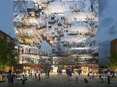 "Image 2 of 8 from gallery of MVRDV Design ""Crystal-Rock"" Facade for Mixed-Use Building in Esslingen. Photograph by MVRDV Green Architecture, Futuristic Architecture, Amazing Architecture, Architecture Design, Container Architecture, Building Skin, Mix Use Building, Building Facade, Green Building"