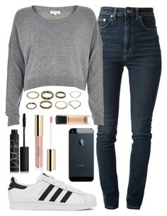 """Idk"" by alexa432 ❤ liked on Polyvore featuring Yves Saint Laurent, River Island, adidas, NARS Cosmetics and MAC Cosmetics"