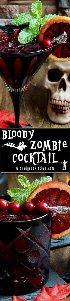 It's a Graveyard Smash! ~ Created from the classic tropical Zombie Cocktail but with an autumnal and bloody twist. Blood orange, cranberry and pomegranate juices along with blood orange liqueur make for a euphoric rum sip. Your party guests will rave! Halloween Cocktails, Halloween Food For Party, Fun Cocktails, Holiday Cocktails, Halloween Treats, Fun Drinks, Yummy Drinks, Beverages, Rum Cocktail Recipes