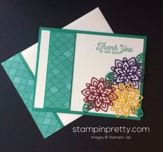 Inspired by Color & Flourishing Phrases (Mary Fish, Stampin' Pretty The Art of Simple & Pretty Cards) Flower Stamp, Flower Cards, Stampin Pretty, Card Making Inspiration, Pretty Cards, Anniversary Cards, Diy Cards, Homemade Cards, Stampin Up Cards