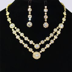 Gold Wedding Jewelry Sets For Brides | Elegant Gold Unique Crystals Bridal Wedding Jewelry Necklace Set