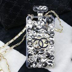 シャネル iPhone SE ケース 香水瓶 CHANEL ギャラクシー S7 エッジスマホケース チェーン付き ダイヤモンド オシャレ 女性向け ポップ風