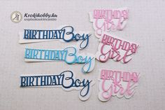 Birthday Boy - Birthday Girl Cards Girl Birthday, Banner, Bullet Journal, Scrapbook, Deco, Boys, Pink, Cards, Banner Stands