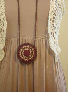 Rust Crochet Mandala Stash Necklace / Festival by retrotimbre
