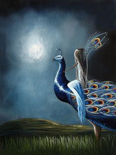 Peacock Princess by Shawna Erback. Enter the wonderful magical world created by this artist. Click on image to order art prints or canvas prints. Do you believe in magic?!