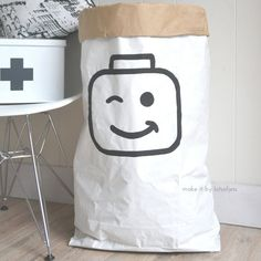 Lego paper bag hand painted storage of toys door makeitbylotsofjess