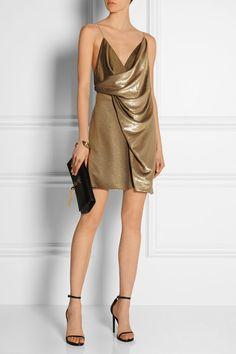 SAINT LAURENT Draped neck mini dress $9,590