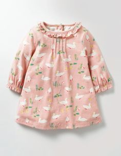 Pretty Printed Jersey Dress Dresses at Boden Frocks For Girls, Little Dresses, Little Girl Dresses, Girls Dresses, Baby Outfits, Toddler Outfits, Kids Outfits, Frock Design, Baby Girl Dress Design