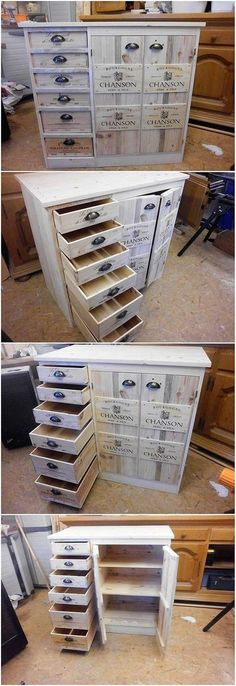 You can also make the best use of the wood pallet into some finest creation of the cabinets with the portions of drawers. As it is all evident in the image the whole designing of the cabinet has been featured upon with the classy flavors of the wood pallet designing work.