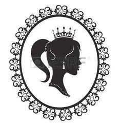 principessa vintage: Profilo silhouette di una principessa in un frame su uno…
