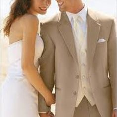 5869786ea6 Tan tux for groom with ivory vest to match dress Wedding Tuxedos