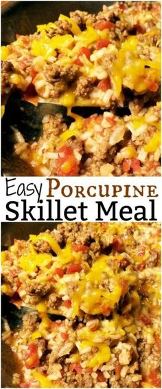 Easy Porcupine Skillet Meat- I used beef broth, diced onion and minced garlic. not onion soup mix and subbed RoTel for the canned tomatoes Healthy Meat Recipes, Meat Recipes For Dinner, Cooking Recipes, Cooking Tips, Drink Recipes, Salad Recipes, Hamburger Meat Recipes Ground, Easy Meals With Hamburger Meat, Hamburger Meat Casseroles