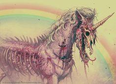 scary rainbow creepy horror skull unicorn pastel skeleton Macabre zombie undead grotesque