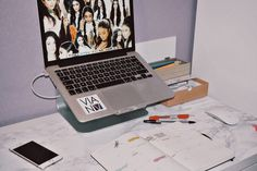 Bullet journal, Office, Workspace, Macbook, Apple, iPhone, BuJo,