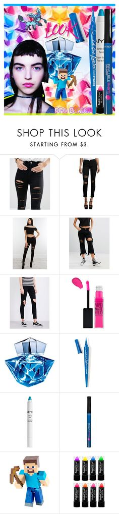 """""""Minecraft Neon Beauty"""" by yours-styling-best-friend ❤ liked on Polyvore featuring beauty, ASOS, Current/Elliott, Liquor n Poker, Ksubi, Thierry Mugler, L.A. Girl, NYX, L'Oréal Paris and Minecraft"""