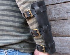 Black Steampunk Bracers or Gauntlet Pair with Antiqued Brass Hardware