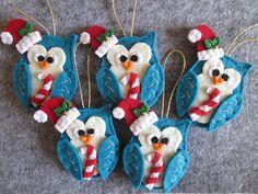 Christmas Ornaments with Felt Owl  Handmade by TinyFeltHeart