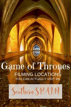 Much of HBO's blockbuster show Game of Thrones is filmed in sunny southern Spain. For die-hard fans looking for some sun, Spanish flare, and a Game of Thrones fix, there are seven real life filming locations in Andalusia you can visit. You can relive the gore and glory of the bloodthirsty medieval show and take a selfie where some of the show's most memorable scenes were shot. #got #GameOfThrones #gotFilmingLocations #spain #Andalusia #RoyalAlcazar #SouthernSpain