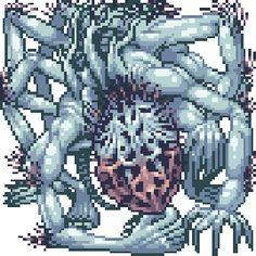 Pixel Art Gif, Dibujos Dark, Arte Dark Souls, Bloodborne Art, Dark Blood, Eldritch Horror, 8 Bits, Pixel Animation, Alien Concept Art