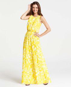 Ann Taylor - AT New Arrivals - Summer Scroll Print Sleeveless Maxi Dress